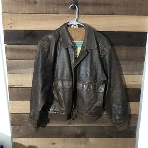 VTG Military Bomber Aeropostale Leather Jacket